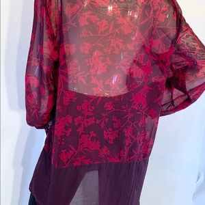 Cleo sheer button down XL red floral print